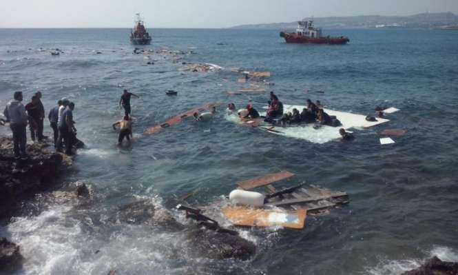 Rescue operations are carried out just off Rhodes. Photograph- News Agency:Rex