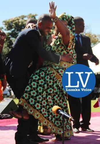 Sport Minister Vincent Mwale joining Charity Banda during the 2015 African Freedom day at State house  - Photo Credit Jean Mandela - Lusakavoice.com