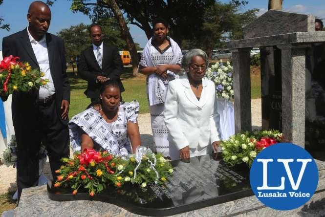 left to right- Son Liwewe , daughter Kwangu Liwewe and widow Sylvia Liwewe (behind are Linda Liwewe Bonsu and husband Victor Bonsu - Photo Credit Jean Mandela - Lusakavoice.com