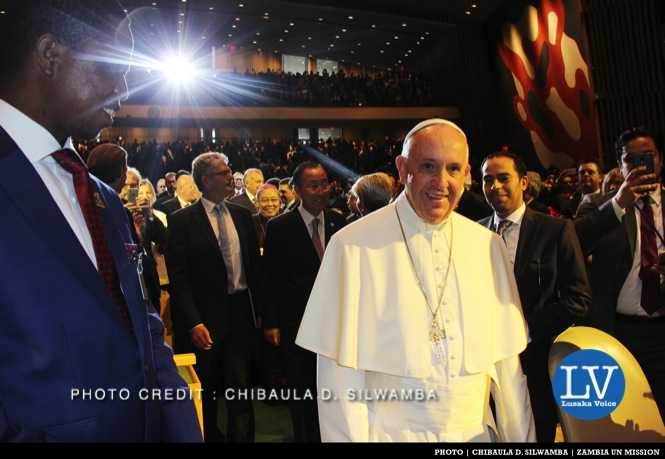 Zambia President Edgar Chagwa Lungu (left) looking at Pope Francis as the head of the Catholic Church enters the United Nations General Assembly Hall in New York, USA on Friday 25 September, 2015. PHOTO | CHIBAULA D. SILWAMBA | ZAMBIA UN MISSION