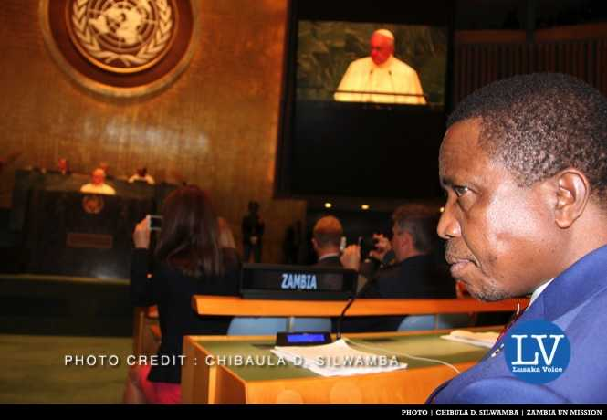 Zambia President Edgar Chagwa Lungu listening to Pope Francis deliver his statement in the United Nations General Assembly Hall in New York, USA on Friday 25 September, 2015. PHOTO | CHIBAULA D. SILWAMBA | ZAMBIA UN MISSION