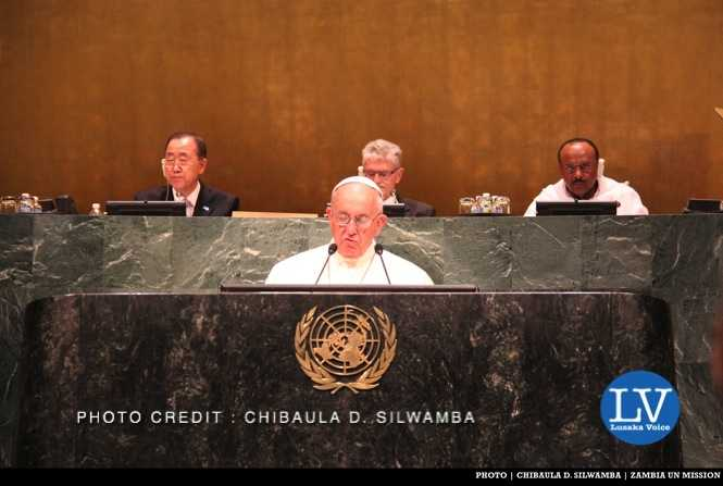 Pope Francis in the United Nations General Assembly Hall in New York, USA on Friday 25 September, 2015. PHOTO | CHIBAULA D. SILWAMBA | ZAMBIA UN MISSION