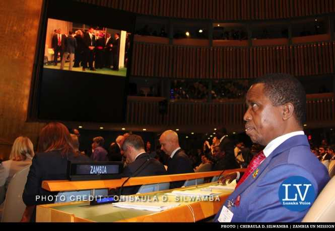 Zambia President Edgar Chagwa Lungu waiting for the arrival of Pope Francis to deliver his statement in the United Nations General Assembly Hall in New York, USA on Friday 25 September, 2015. PHOTO | CHIBAULA D. SILWAMBA | ZAMBIA UN MISSION
