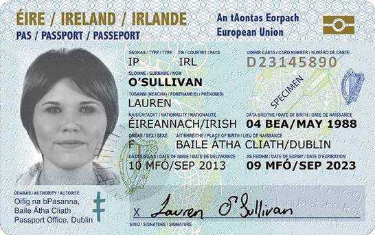 Credit-card size IRISH passport for European