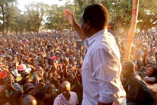 "Chipata came alive with chants of ""Zambia Forward"" as the UPND campaign tour led by Mr. Hakainde Hichilema"