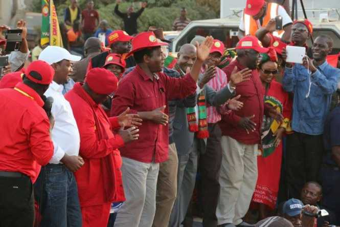 HH and fellow UPND members enjoying the rally