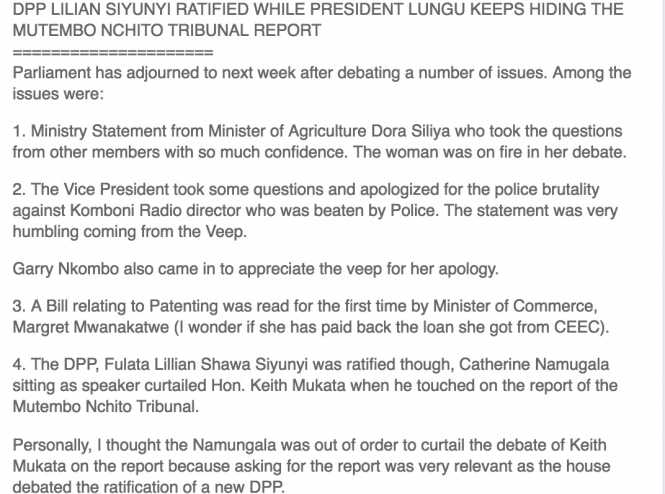 DPP LILIAN SIYUNYI RATIFIED WHILE PRESIDENT LUNGU KEEPS HIDING THE MUTEMBO NCHITO TRIBUNAL REPORT