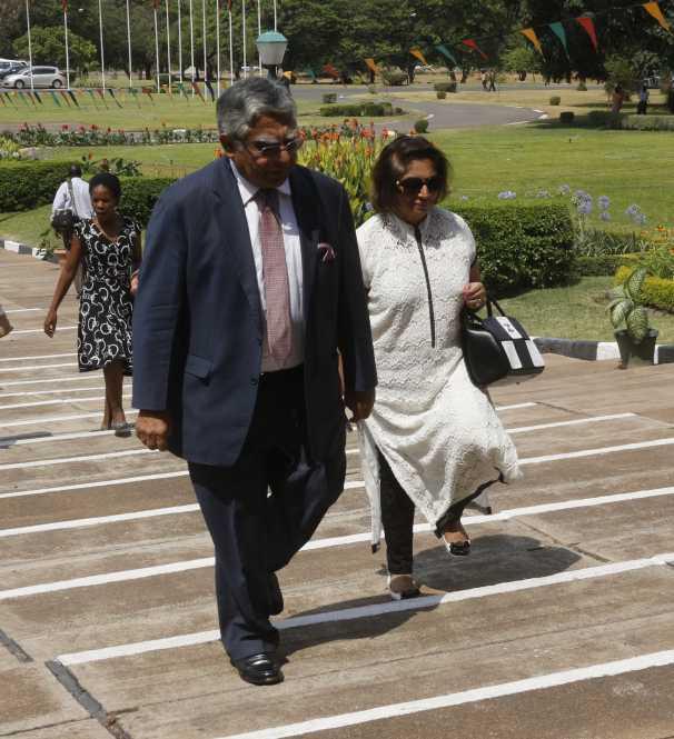 Mahatani Group of Companies Chairman Rajan  Mahtani and his wife Binah Mahtani arrival at NAZ building.