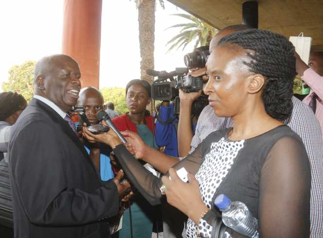 Former Minister of Finance Ngandu Peter  Mangande interacting with  the media,