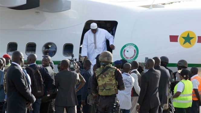 Adama Barrow arrived home, a week after taking the oath of office abroad amid a whirlwind political crisis [Jerome Delay/AP]