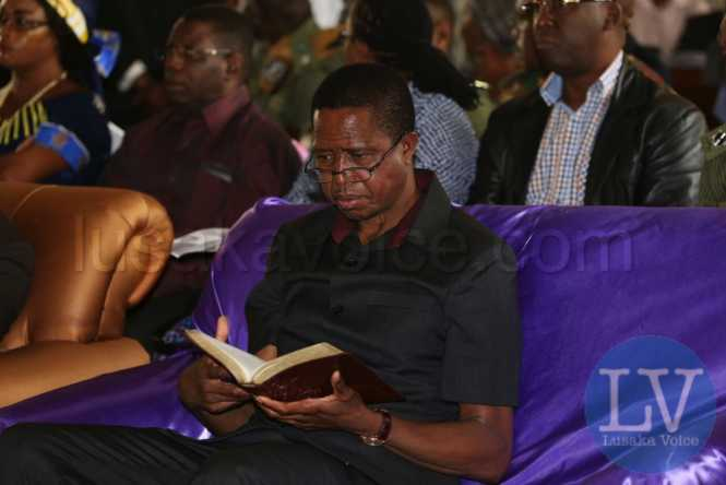 Edgar Lungu at the Reformed church of Zambia in Chipata lusakavoice.com