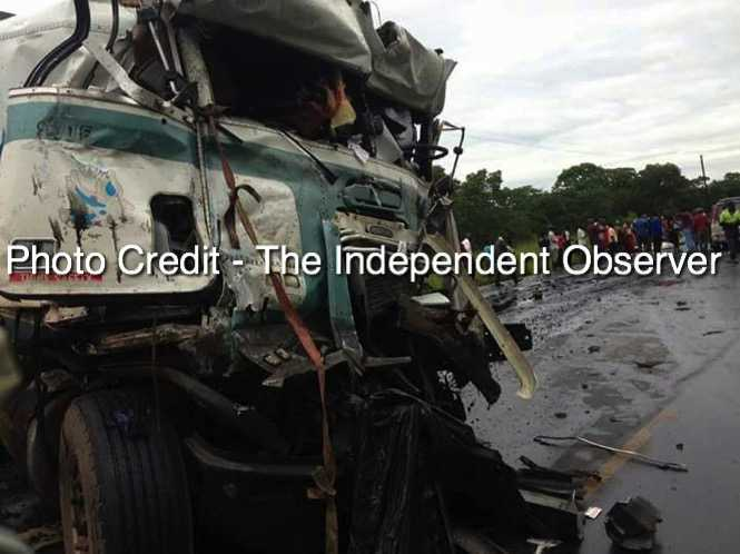 Ten people have died on the spot when a Copperbelt bound Mazhandu Family Bus Services collided with a truck on the Kabwe-Kapiri road - Truck- The Independent Observer