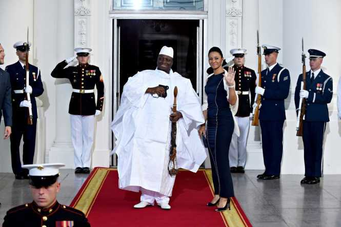 he Gambian Ex-President Yahya Jammeh and First Lady Zineb Jammeh arrive for a dinner hosted by President Barack Obama in Washington, D.C. Susan Walsh / AP