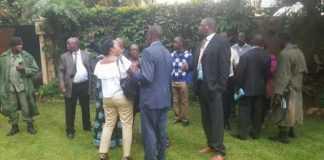 Police officers keep vigil on M'membe's house