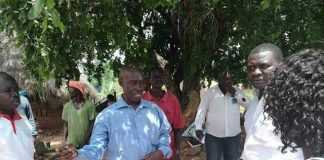 Vincent Nyangu the Luangwa District Chairperson receiving his National Secretary Raphael and his entourage in Luangwa on Saturday