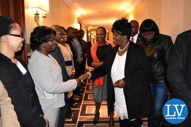 Zambia UN Mission diplomatic Staff welcoming the First Lady Mrs. Esther Lungu to New York on Saturday 11 March, 2017.