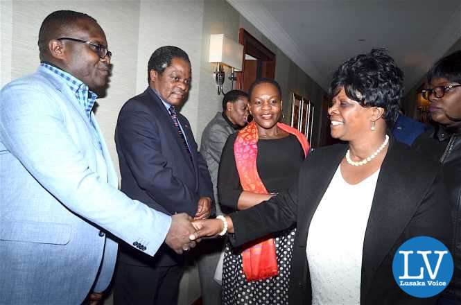 First Lady Esther Lungu greets Zambia UN Mission Military Adviser Brigadier General Erick Mwewa on arrival at Lotte New York Palace Hote