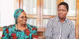 President Edgar Lungu with Mama Salome Kapwepwe.