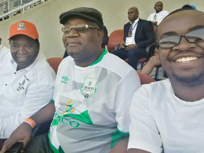 Ndola Mayor Mr. Amon Chisenga, Ndola District Commissioner, Mr. George Chisulo and Kitwe Mayor Christopher Kang'ombe enjoying a game of football at Levy Mwanawasa stadium Zesco and Supersport