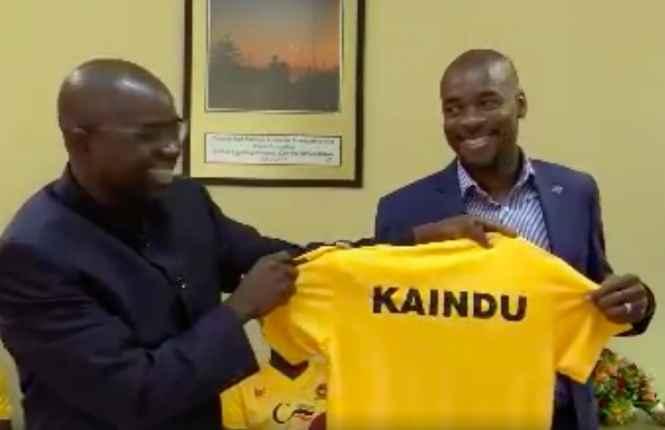 Power Dynamos Chairman introducing the new coach kelvin Kaindu