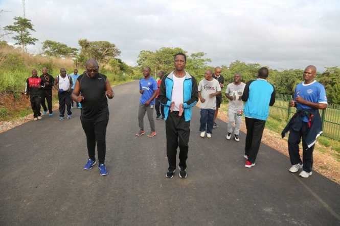 President Edgar Lungu joined by some cabinet ministers spotted doing his regular 10km run and body exercises afterwards