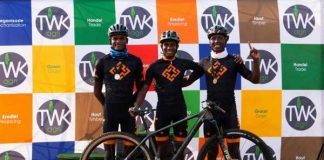 Kansanshi Cyclists (L-R) Ernest Mazabuka, Gift Puteho, and Davies Kawemba all took podium positions in the Mpumalanga Interprovincial MTB Cup in Middleburg, South Africa.